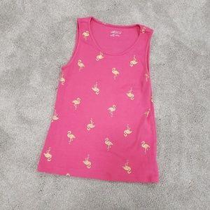 Girls Gold & Hot Pink Flamingo Tank